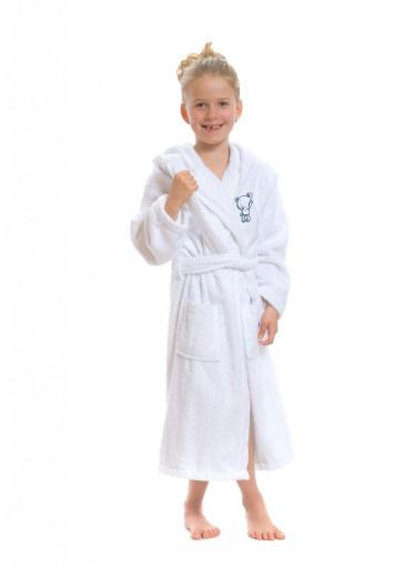 Dětský župan s kapucí Logo Medvídek, bílý