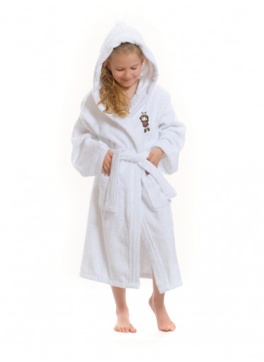 Dětský župan s kapucí Logo Princezna, bílý