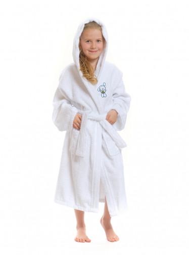 Dětský župan s kapucí Logo Zajíček, bílý