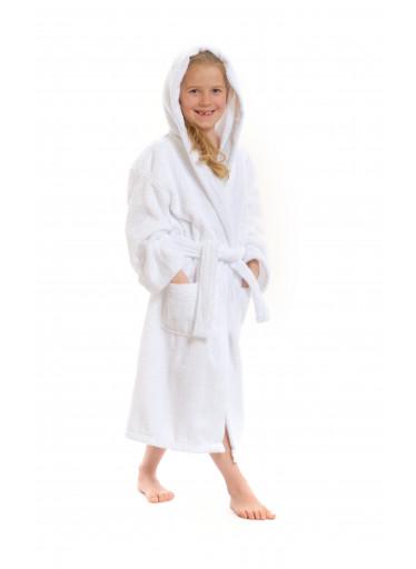 Dětský župan s kapucí, bílý