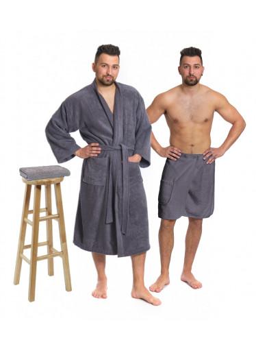 Sada Dark Grey: župan KIMONO s výšivkou + pánský saunový kilt + osuška