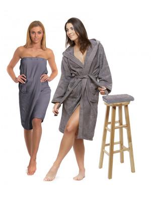 Sada Dark Grey: župan s kapucí a výšivkou + dámský saunový kilt + osuška