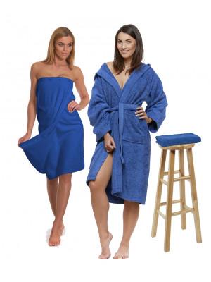 Sada Navy Blue: župan s kapucí a výšivkou + dámský saunový kilt + osuška