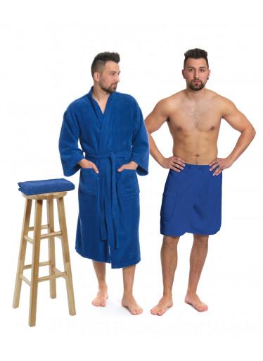 Sada Navy Blue: župan KIMONO s výšivkou + pánský saunový kilt + osuška