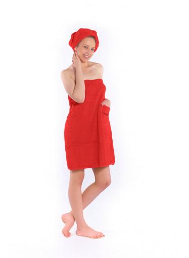 Dámský saunový kilt s turbanem Logo SAUNA, červený
