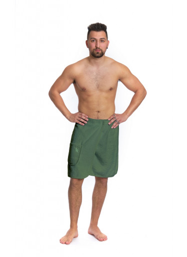 Pánský saunový kilt s čelenkou Logo Bird, khaki zelená
