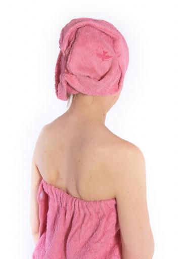 Dámský saunový kilt s turbanem Logo BIRD, růžový