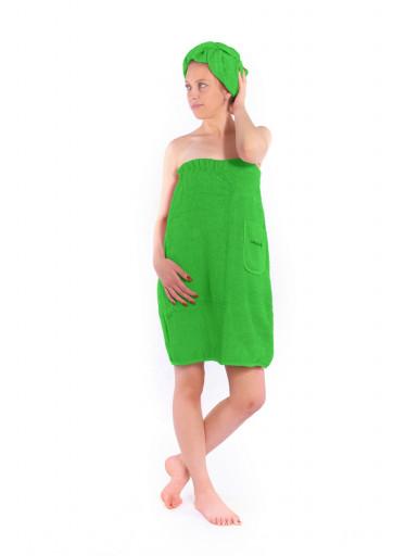 Dámský saunový kilt s turbanem Logo SAUNA, zelený