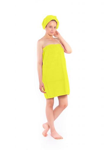 Dámský saunový kilt s turbanem Logo SAUNA, žlutý