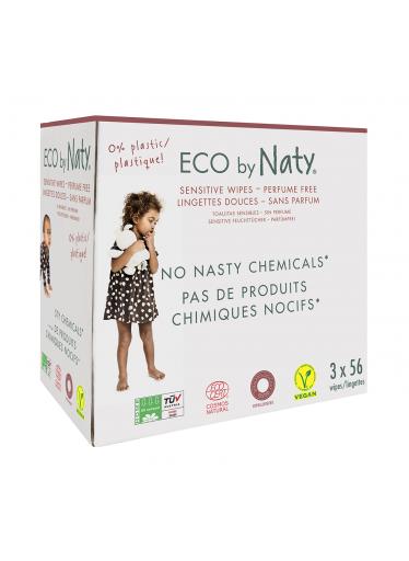 ECO vlhčené ubrousky Naty bez vůně - pro citlivou pokožku - výhodné balení (3 x 56 ks)