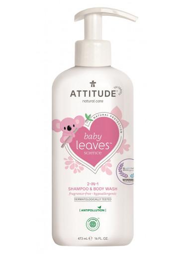 Dětské tělové mýdlo a šampon (2 v 1) ATTITUDE Baby leaves bez vůně 473 ml