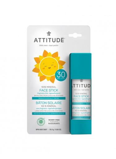 ATTITUDE Dětská 100% minerální ochranná tyčinka na obličej a rty SPF 30 bez vůně, 18,4 g