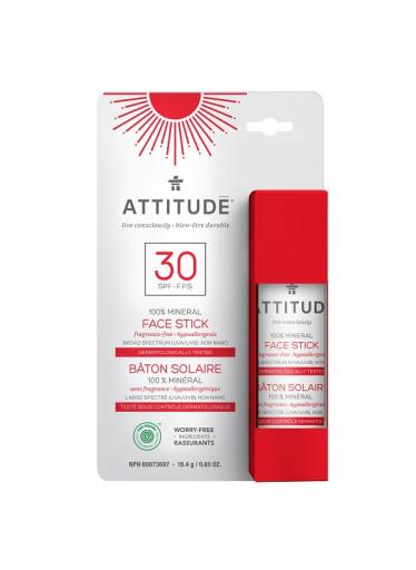 ATTITUDE 100% minerální ochranná tyčinka na obličej a rty SPF 30 bez vůně, 18,4 g