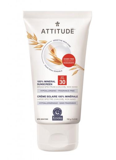 ATTITUDE 100% minerální opalovací krém SPF 30 pro citlivou a atopickou pokožku bez vůně, 150 g