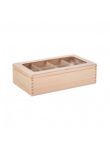 ČistéDřevo Dřevěná krabička s plexisklem - 8 přihrádek