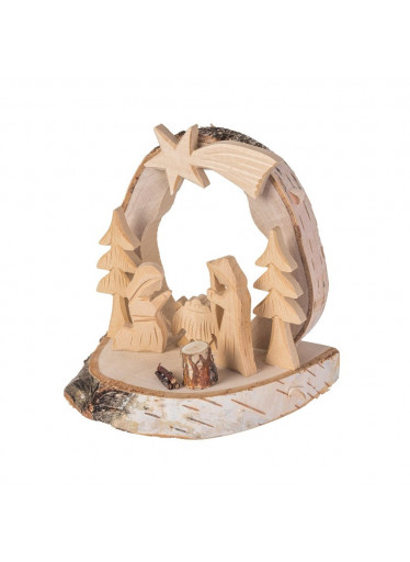 ČistéDřevo Dřevěný betlém s kůrou XXV