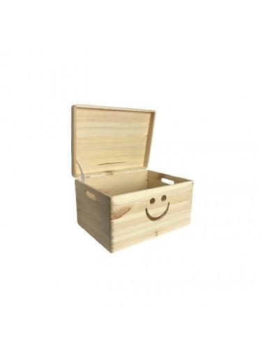ČistéDřevo Dřevěný box s úsměvem a víkem 40 x 30 x 23 cm