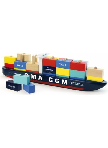 Vilac Dřevěná skládačka kontejnerová loď
