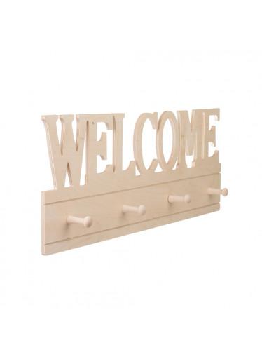 ČistéDřevo Dřevěný nástěnný věšák - welcome