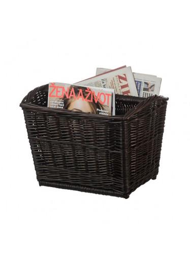 ČistéDřevo Proutěný stojan na noviny - dvojitý tmavý