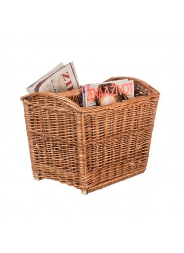 ČistéDřevo Proutěný stojan na noviny - dvojitý