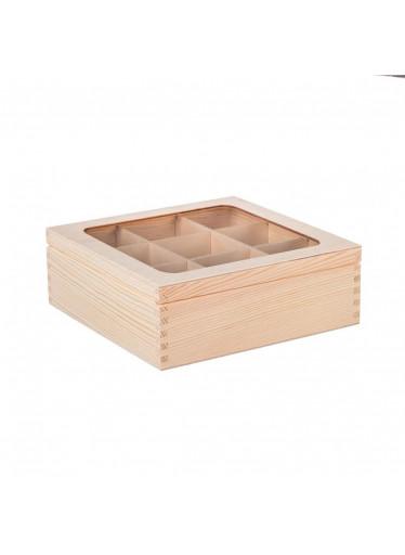 ČistéDřevo Dřevěná krabička s plexisklem - 9 přihrádek