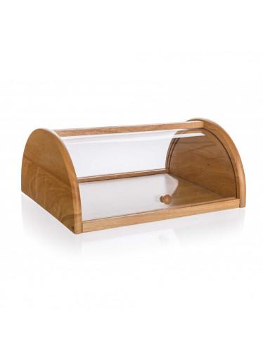 ČistéDřevo Chlebník dřevěný BRILLANTE 36 x 27 x 15 cm s plastovým víkem