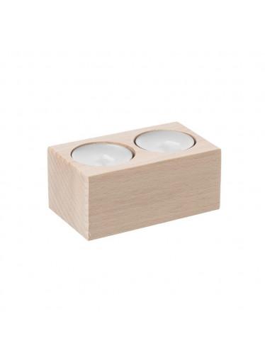 ČistéDřevo Svícen dřevěný pro 2 svíčky