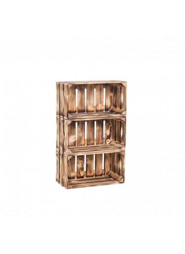 ČistéDřevo Dřevěné opálené bedýnky regál 66 x 40 x 20 cm