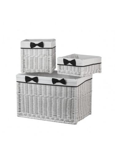 ČistéDřevo Proutěné zásuvky bílé s látkou- trojdílný set
