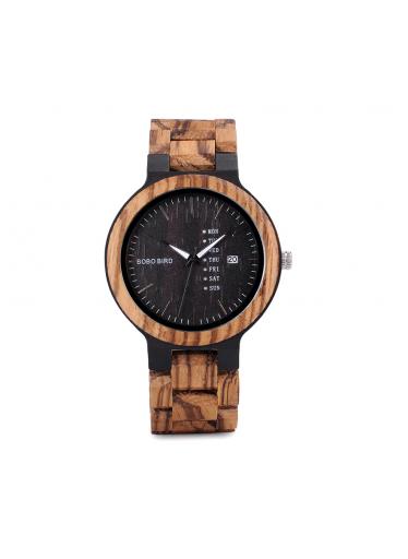 ČistéDřevo Dřevěné hodinky Bobo Bird s datumovkou - tmavé