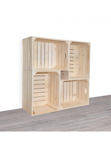 ČistéDřevo Dřevěné bedýnky knihovna 100x100x24 cm