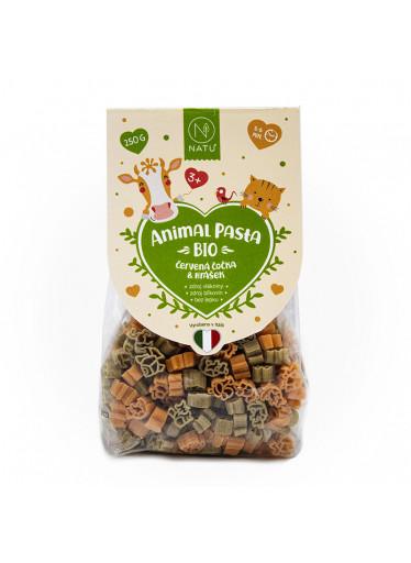 NATU Animal Pasta Těstoviny z červené čočky & hrášku BIO 250 g