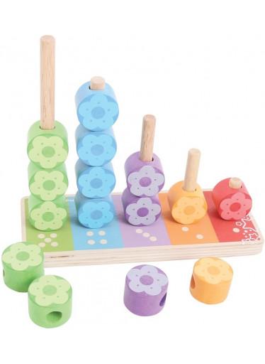 Bigjigs Dřevěná hračka - nasazování barevných květinek