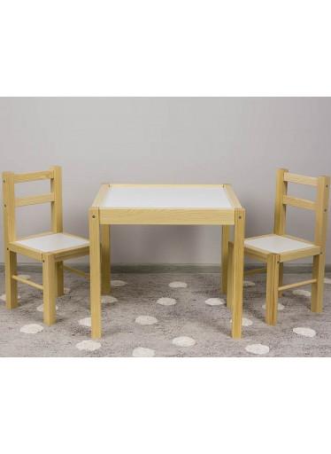 ČistéDřevo Dřevěný dětský stoleček s židličkami přírodní