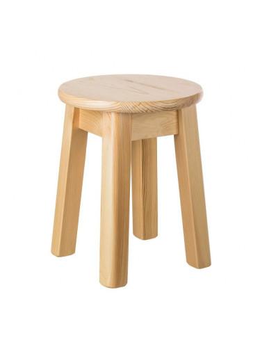 ČistéDřevo Kulatá stolička z borovicového masivu