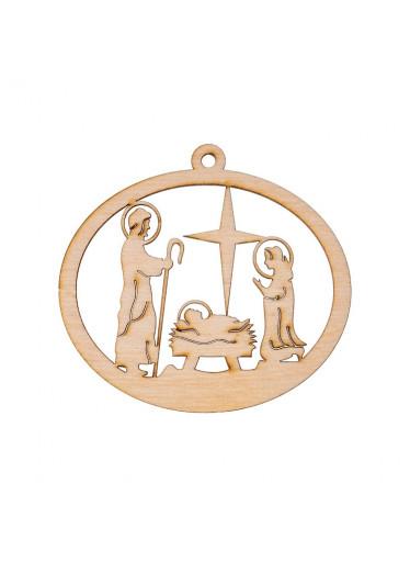 ČistéDřevo Dřevěná vánoční ozdoba - betlém