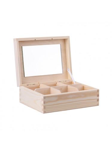 ČistéDřevo Dřevěná šperkovnice V (6 přihrádek)