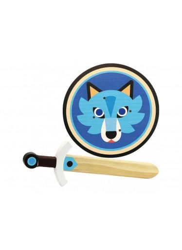 Small foot Dřevěný štít s mečem - Vlk