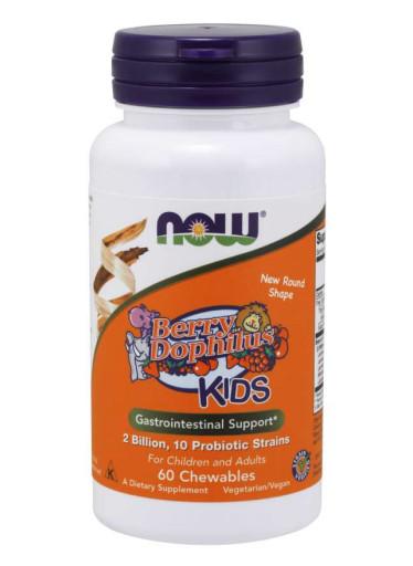 NOW BerryDophilus Kids (probiotika pro děti), 60 žvýkacích pastilek