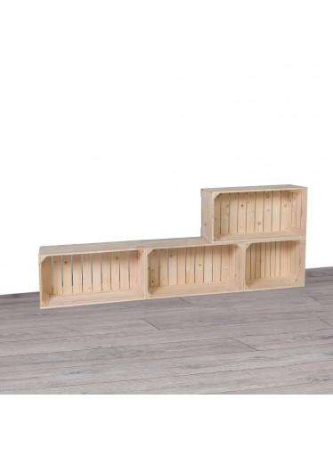 ČistéDřevo Dřevěné bedýnky obývací stěna 160x60x24 cm