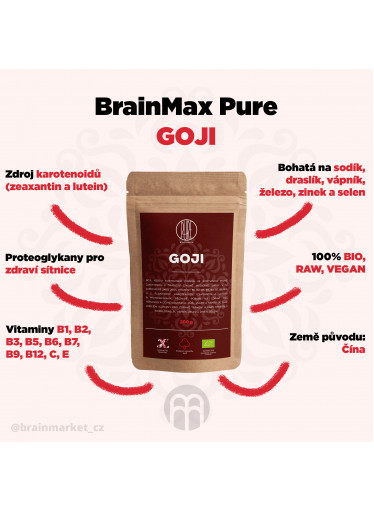 BrainMax Pure Goji sušené BIO, 200 g