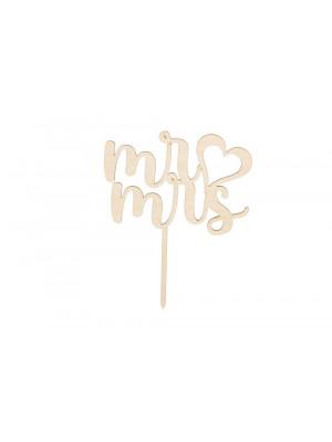 ČistéDřevo Dřevěná zapichovací ozdoba - Mr ♡ Mrs
