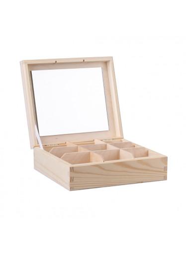 ČistéDřevo Dřevěná šperkovnice V (9 přihrádek)