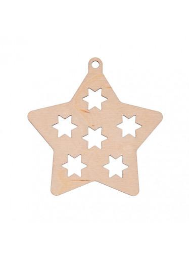 ČistéDřevo Dřevěná vánoční ozdoba - hvězda