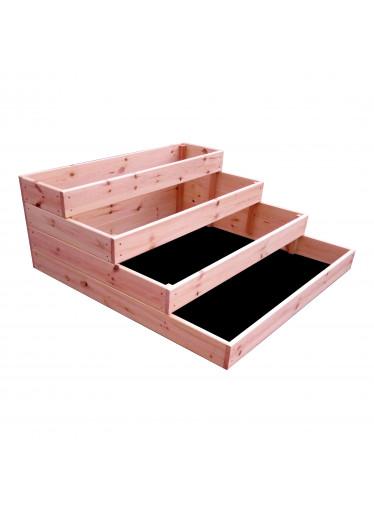 ČistéDřevo 4-patrový dřevěný záhon 120 x 120 x 40 cm