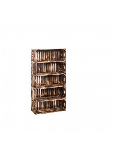 ČistéDřevo Dřevěné opálené bedýnky regál 110 x 60 x 24 cm