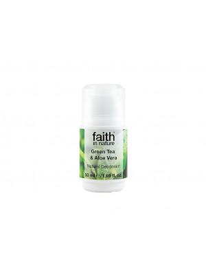 Faith in Nature, Kuličkový Krystal Deodorant - Bio Green Tea/Aloe Vera, 50ml