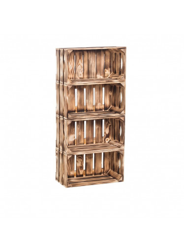 ČistéDřevo Dřevěné opálené bedýnky regál 88 x 40 x 20 cm