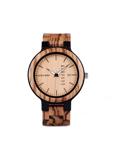 ČistéDřevo Dřevěné hodinky Bobo Bird s datumovkou - světlé